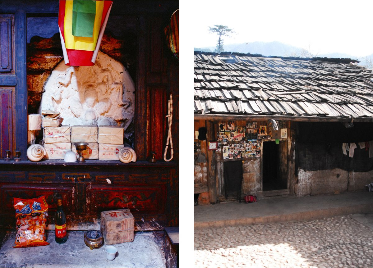 Left: The fire and its power are important, right: The outside of a Mosuo home.