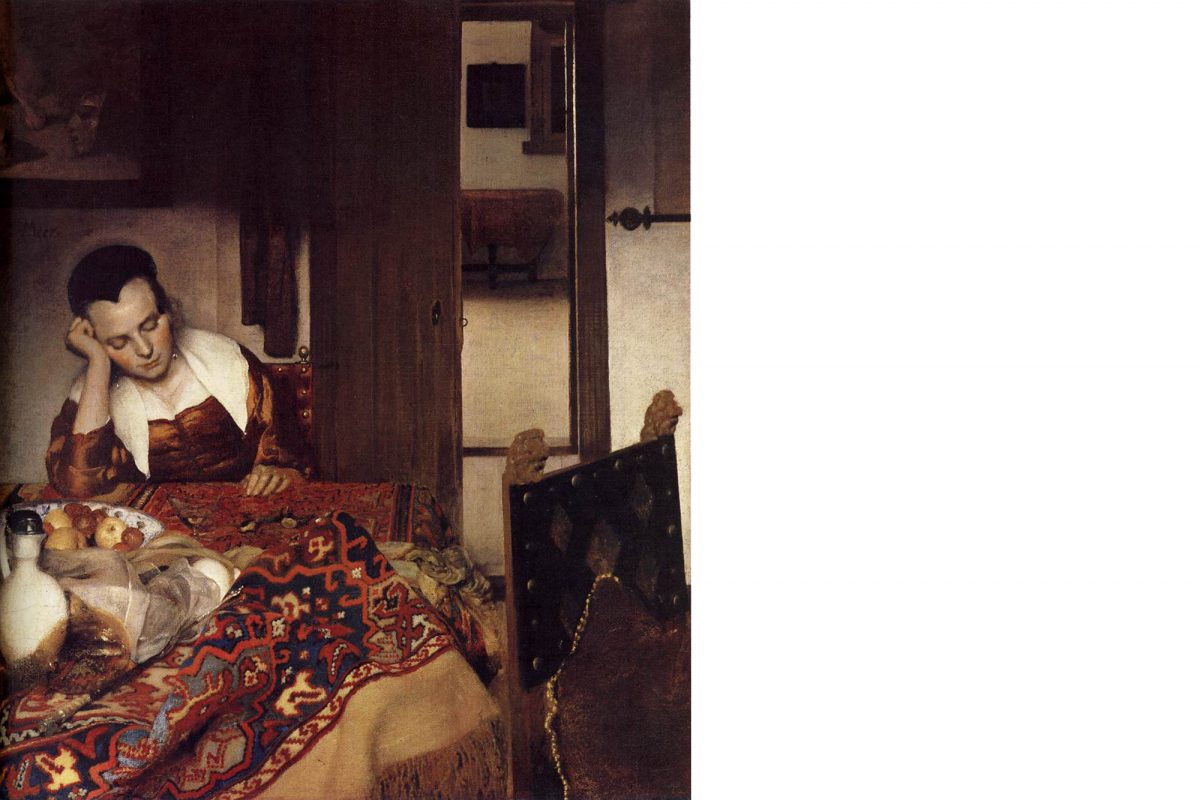A Woman Asleep, painting by Johannes Vermeer, 1657